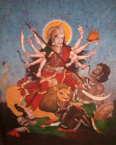 DURGA HAS TAKEN UP THE DESTRUCTION OF PATRIARCHY; DEAD MEN CAN DO NO MORE HARM, SHE HAS OVERSEEN THEIR EXTINCTION.