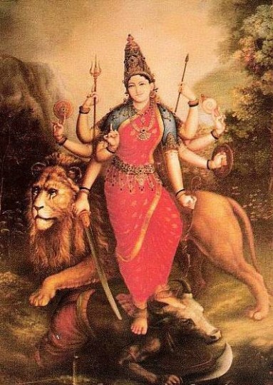 DURGA, one of the symbols for MOTHER GOD, is acclaimed for PROTECTING HER CHILDREN and destroying the enemies of the righteous.  She is always seen as SERENE in the midst of battle, even while spearing or beheading the enemy.