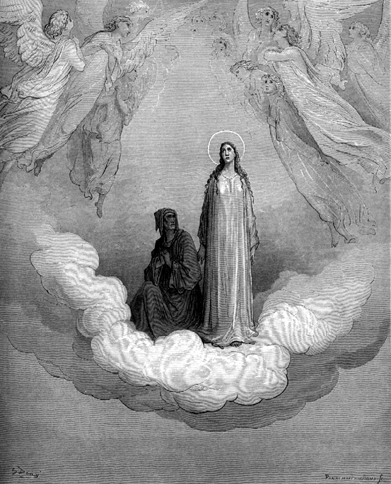 "GUSTAVO DORE  PICTURES BEATRICE, THE WOMAN, AS THE PORTAL TO HEAVEN.  THIS WAS THE FAITH OF DANTE ALIGHIERI, THE AUTHOR OF ""THE DIVINE COMEDY"" - WHICH DESCRIBED THE WORLD OF PURGATORY, DAMNATION IN HELL, AND ENTRANCE INTO HEAVEN"