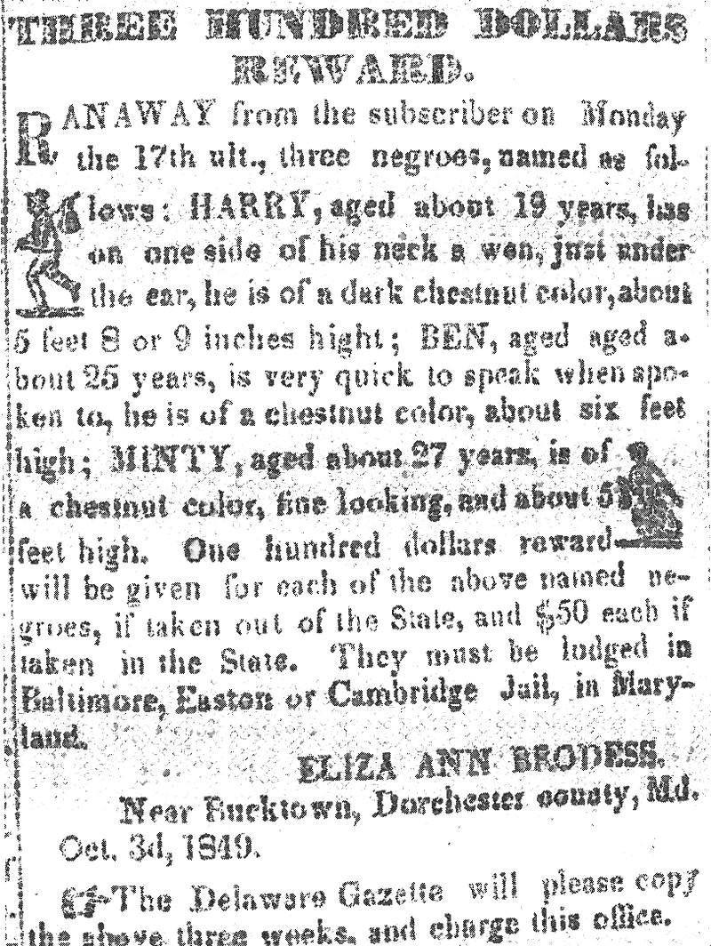 Harriet_Tubman_Reward_Notice_1849