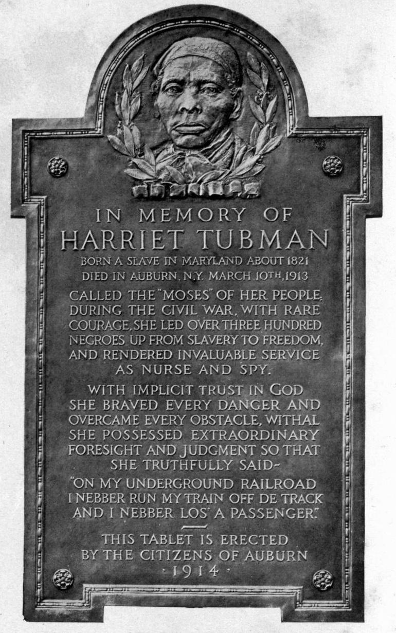 Harriet_Tubman_plaque_Auburn,_NY