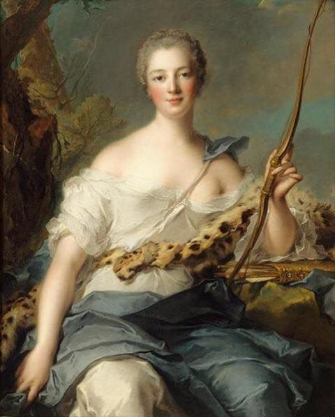 Description Madame de Pompadour (1722–1764), mistress of Louis XV, represented as Diana the Huntress