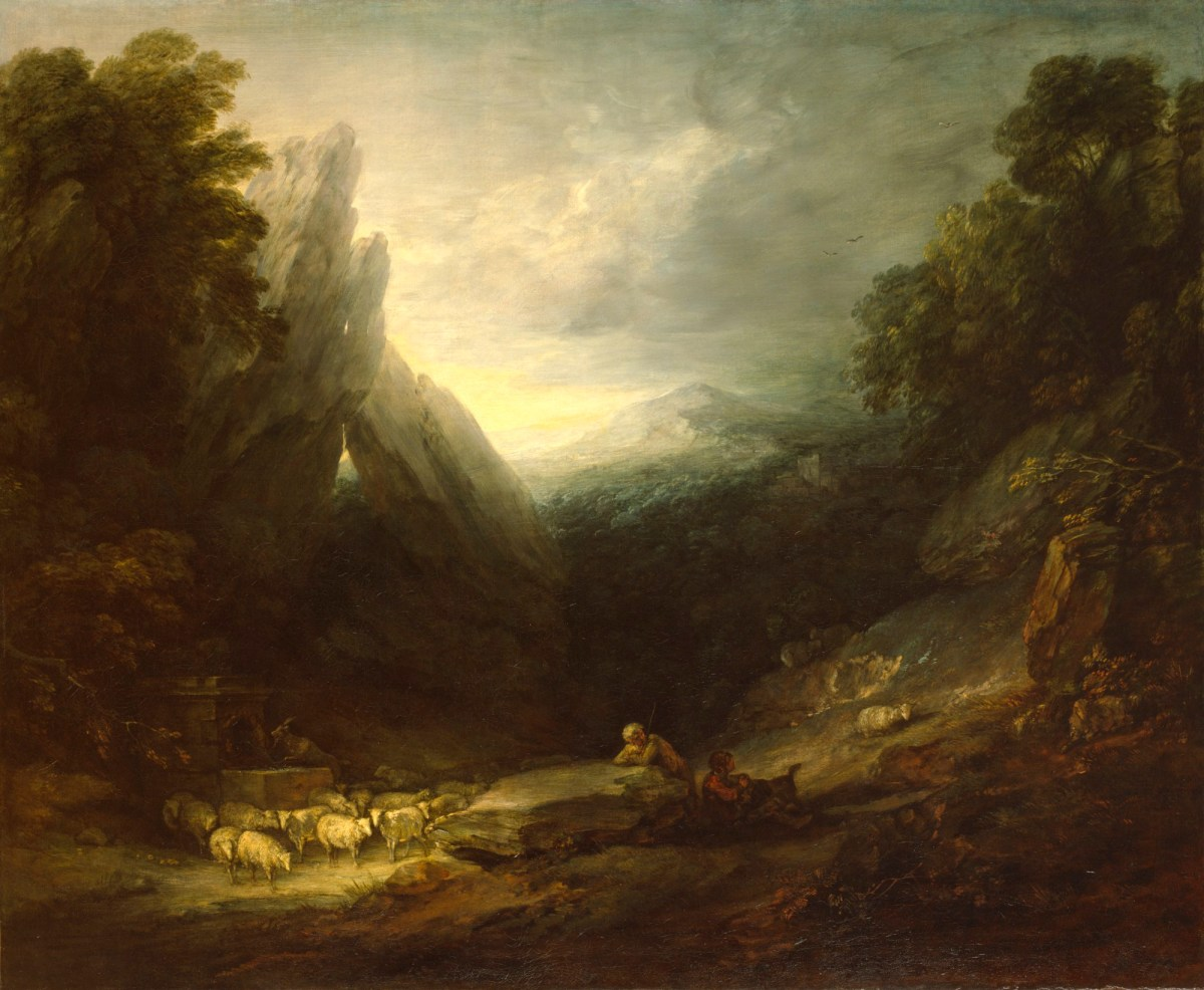 Gainsborough, Thomas; Romantic Landscape; Romantic Landscape with Sheep at a Spring