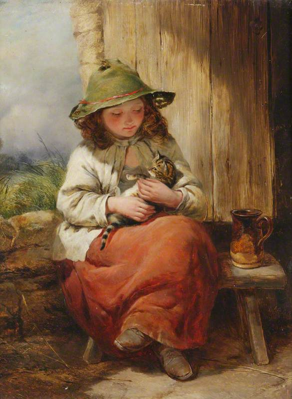 Cobbett, Edward John, 1815-1899; Child with Kitten