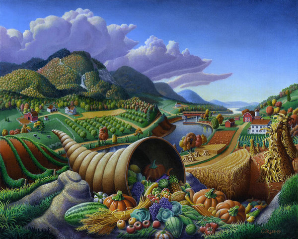 horn-of-plenty-cornucopia-autumn-thanksgiving-harvest-landscape-oil-painting-food-abundance-walt-curlee