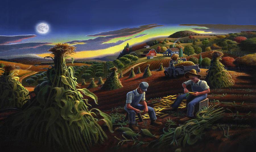 iphone-case--shucking-corn-til-sunset--folk-art-farm-landscape--americana-walt-curlee