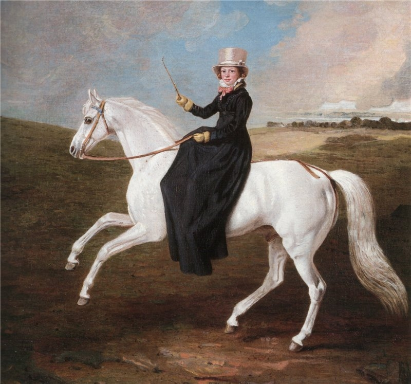 Mary-Musters-On-a-Grey-Horse-Riding-Sidesaddle-Benjamin-Marshall-Oil-Painting