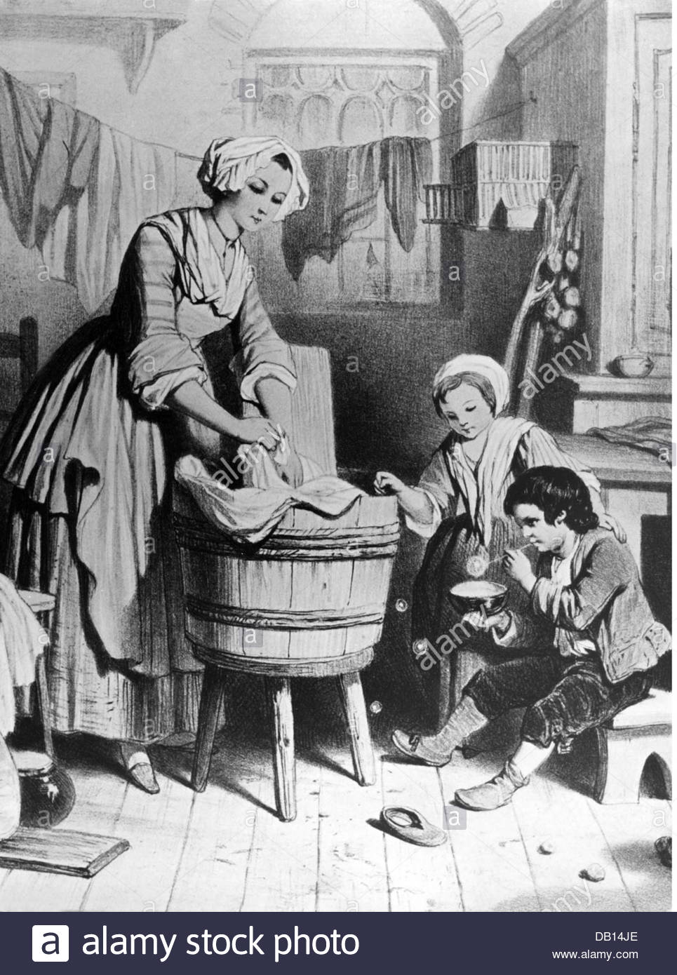 household-washing-woman-washing-the-laundry-in-the-tub-wood-engraving-DB14JE