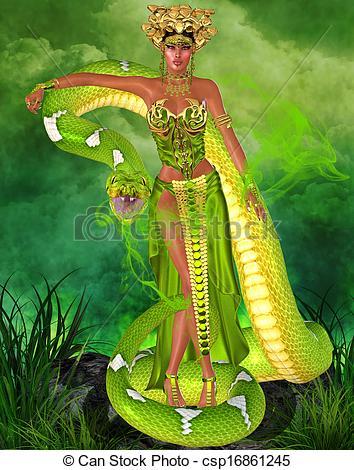 magical-snake-goddess-drawing_csp16861245