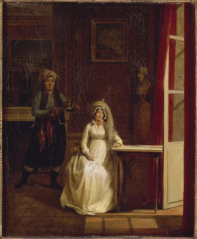Letizia Bonaparte dans son palais avec un domestique v_tu _ l'orientale de Sablet Jacques