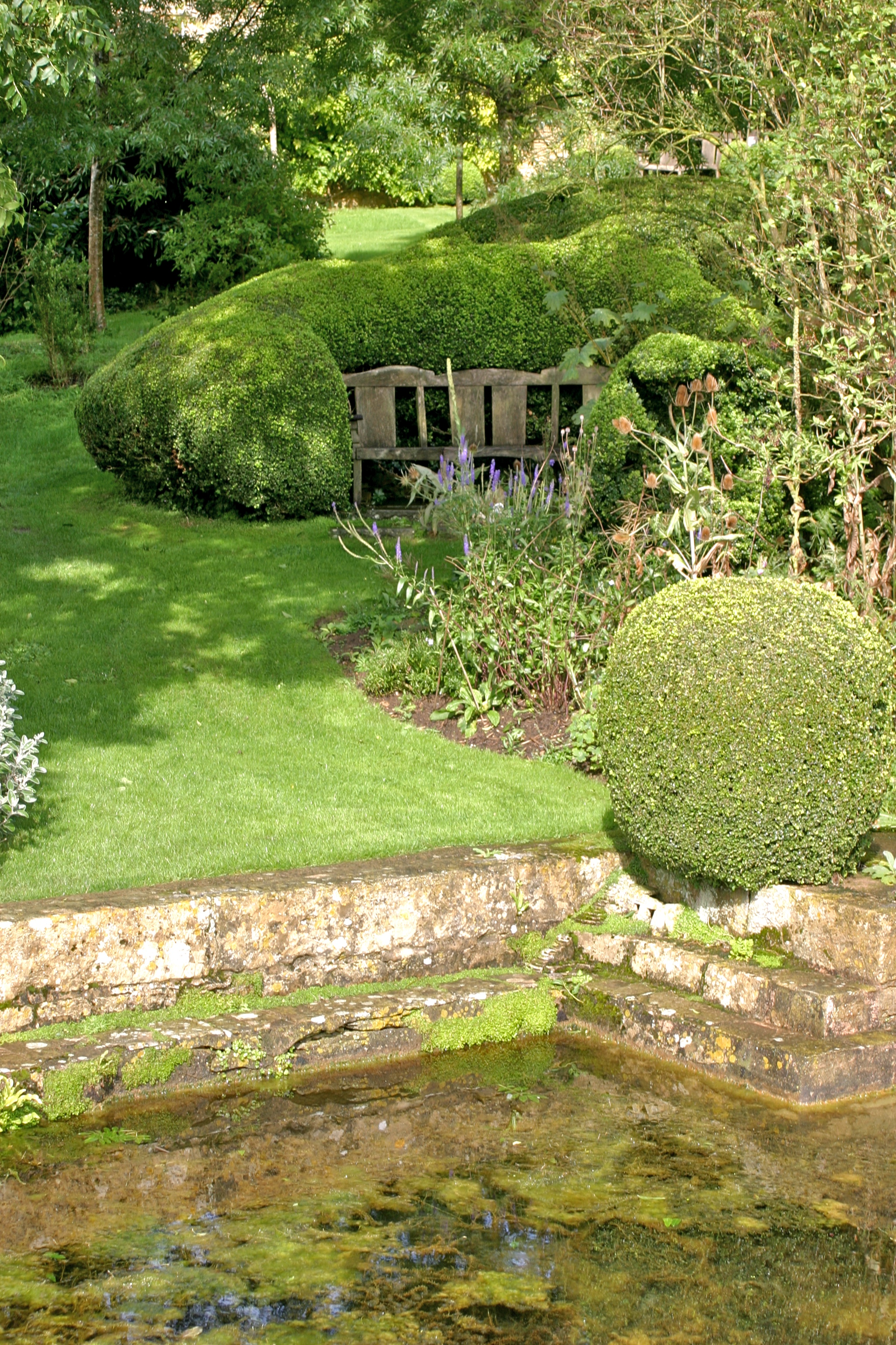 Pond and garden at Snowshill Manor