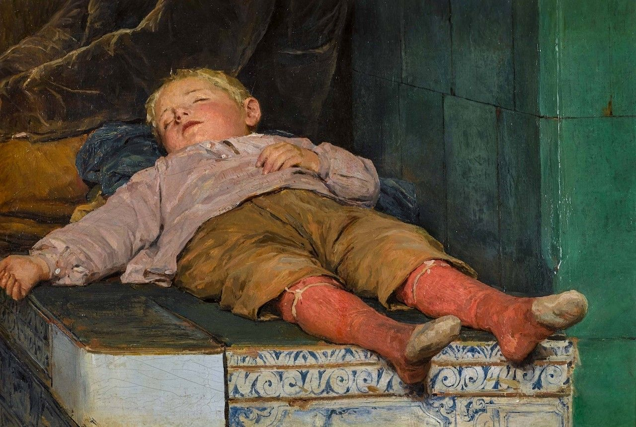 Sleeping-Boy-on-the-Stove-Bench-Albert-Anker-Oil-Painting