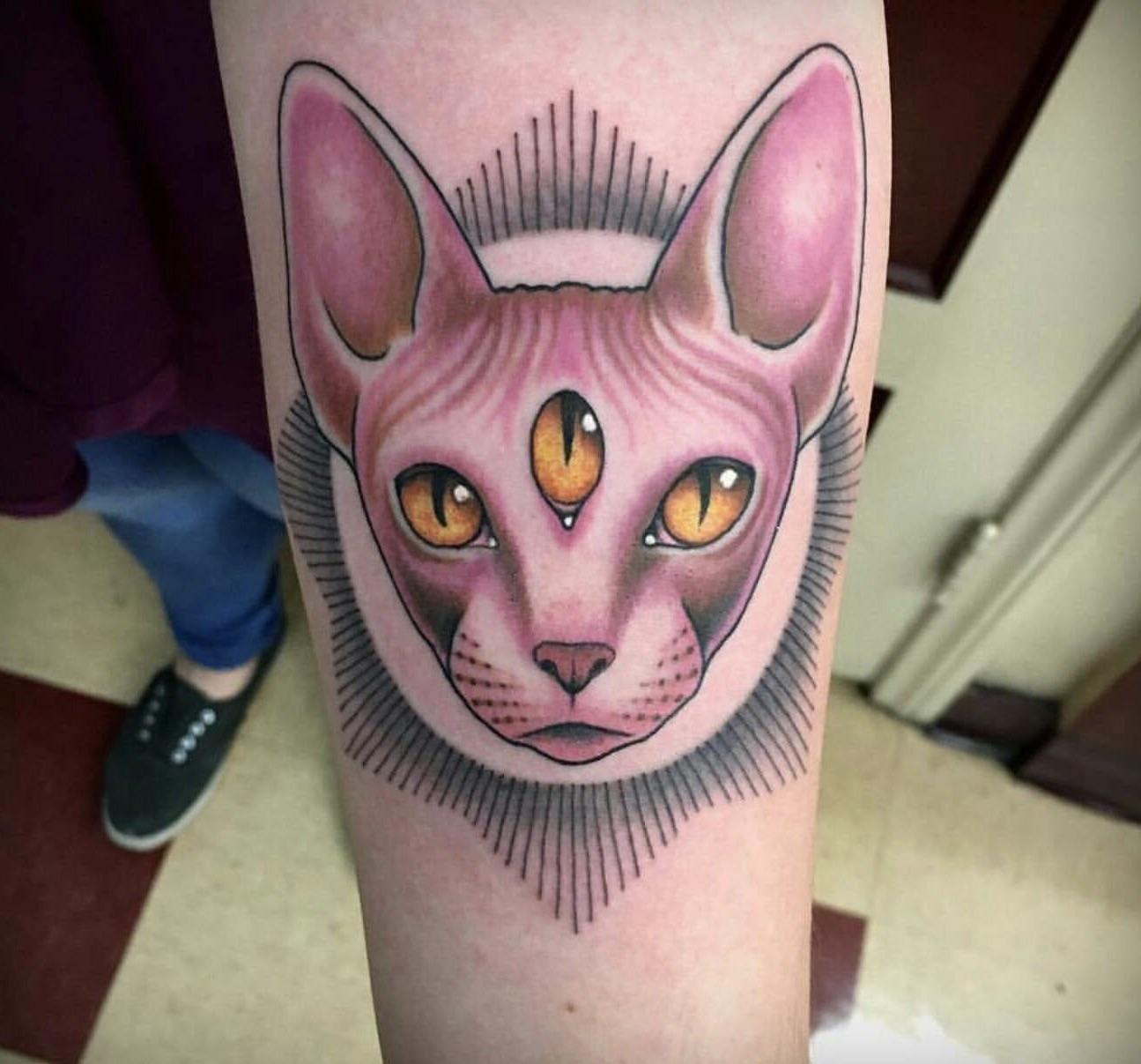 Three-Eyed-Sphynx-Cat-Forearm-Tattoos