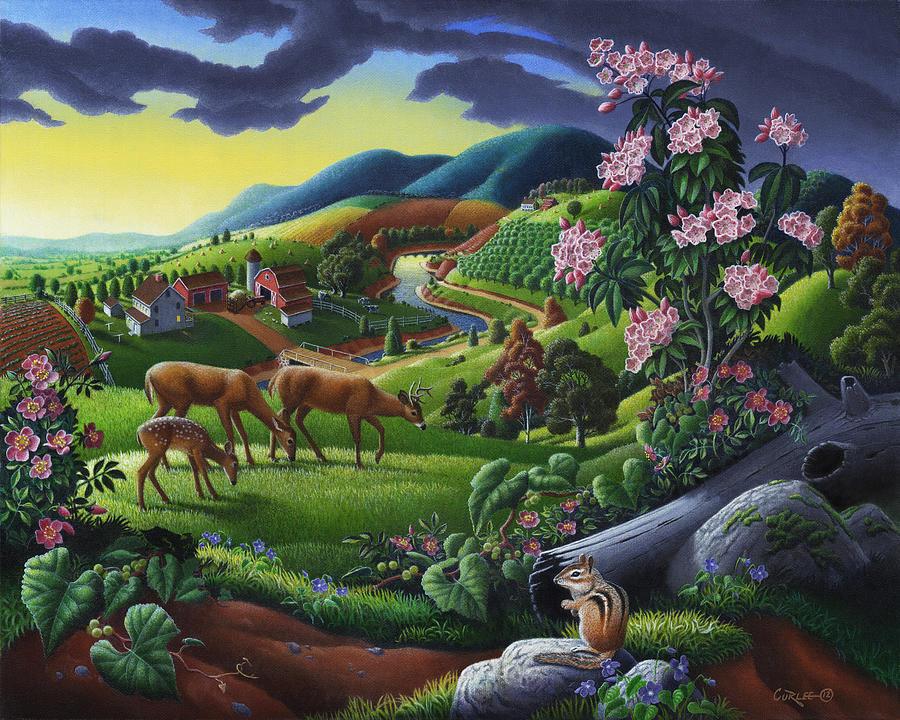 deer-chipmunk-summer-appalachian-folk-art-rural-country-farm-landscape-americana-walt-curlee