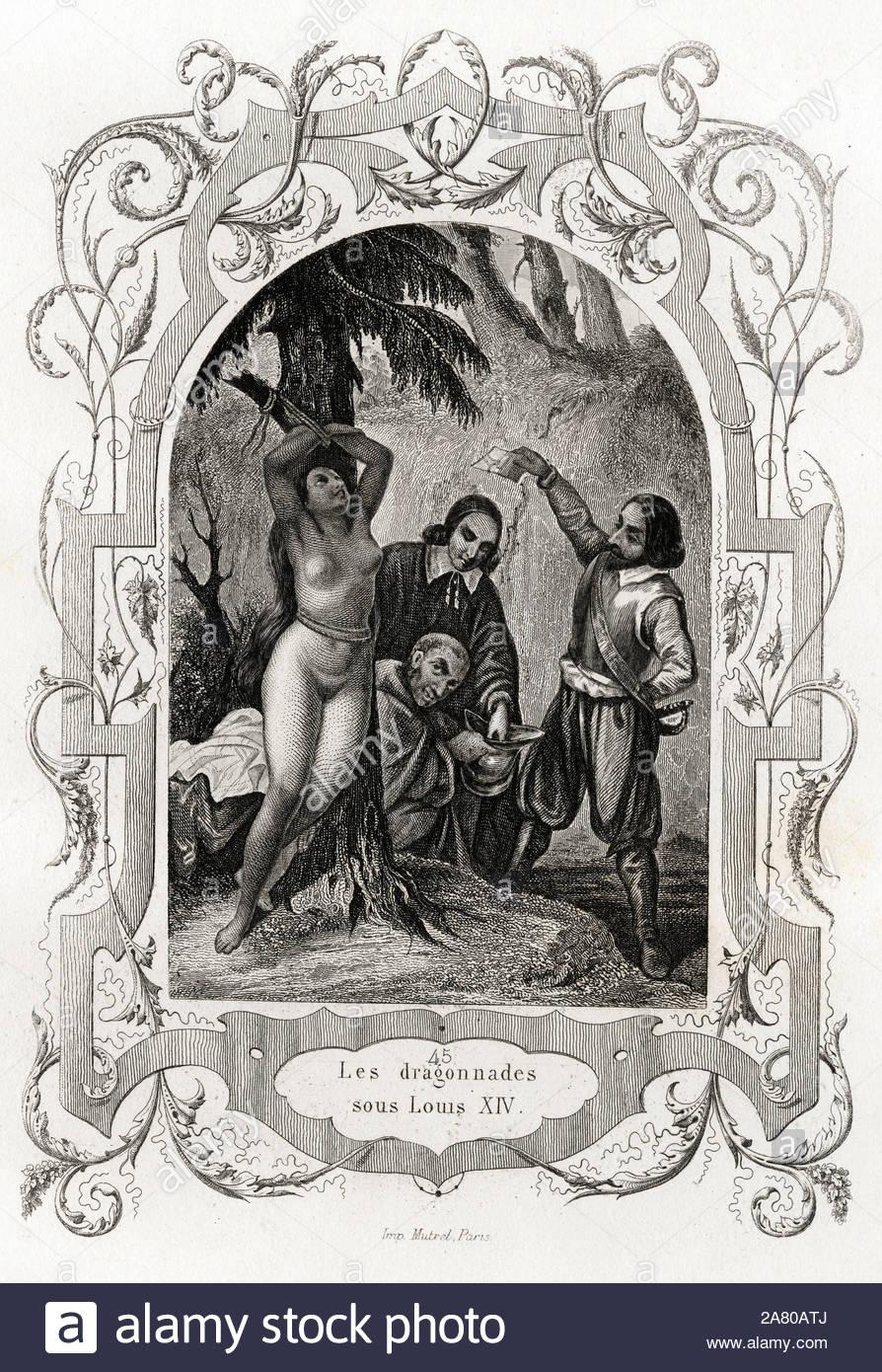 les-dragonnades-sous-louis-xiv-1643-1715-persecution-des-protestants-gravure-pour-illustrer-histoire-des-papes-par-maurice-lachatre-1814-1900-2A80ATJ