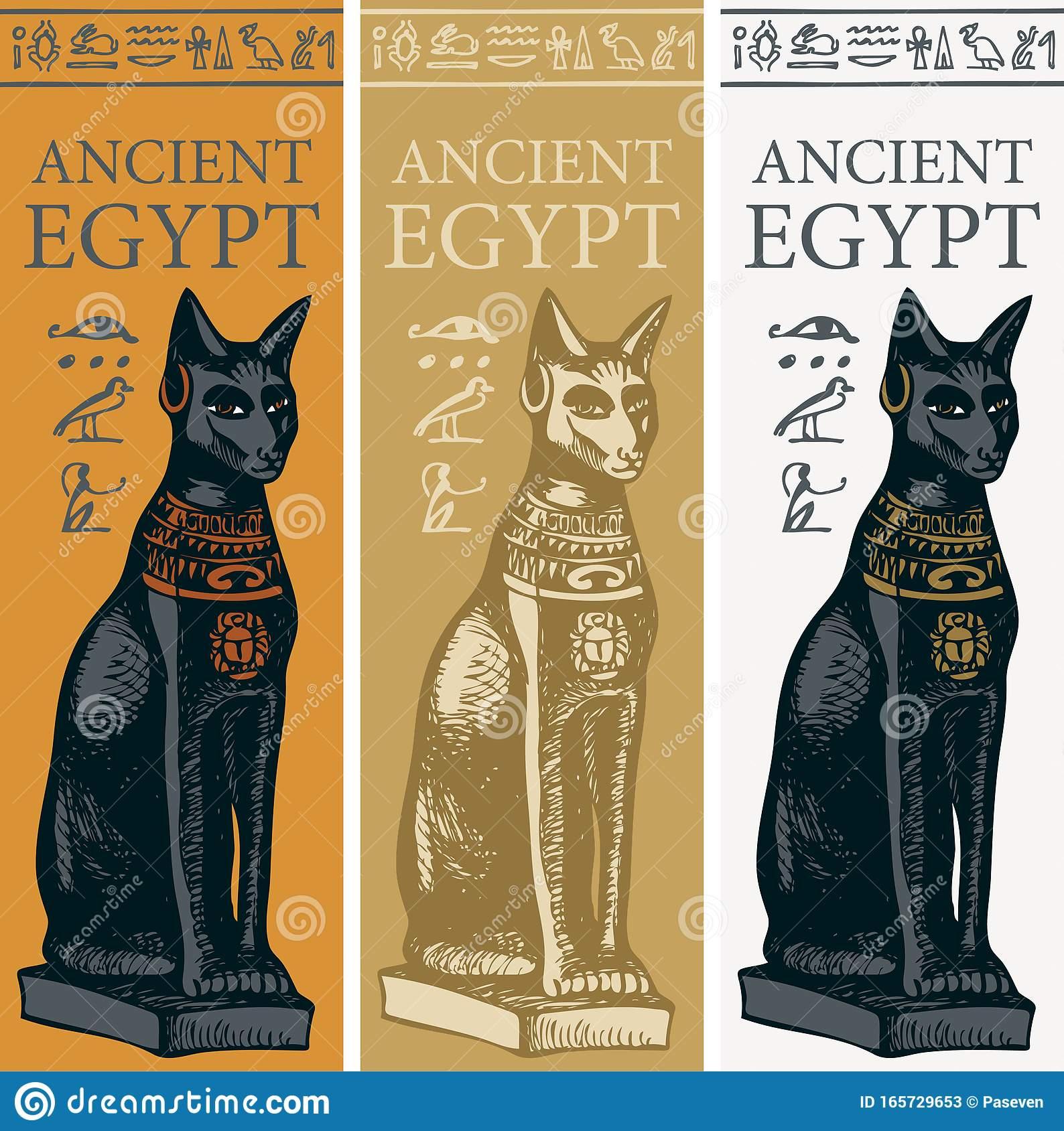 set-vector-banners-goddess-bastet-hieroglyphs-ancient-egyptian-goddess-joy-love-depicted-as-cat-165729653