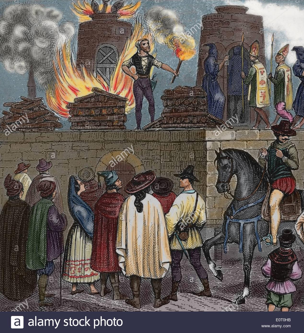 spanish-inquisition-auto-de-fe-capital-punishment-death-by-burnig-E0T0HB