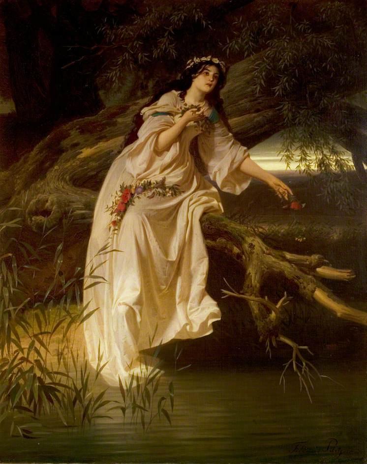 Piloty II, Ferdinand , 1828-1895; 'Hamlet', Act IV, Scene 5, Ophelia