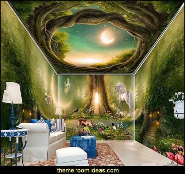 3D Green Forest Horse PVC Waterproof Eco-friendly Self-Adhesive Ceiling and Wall Murals