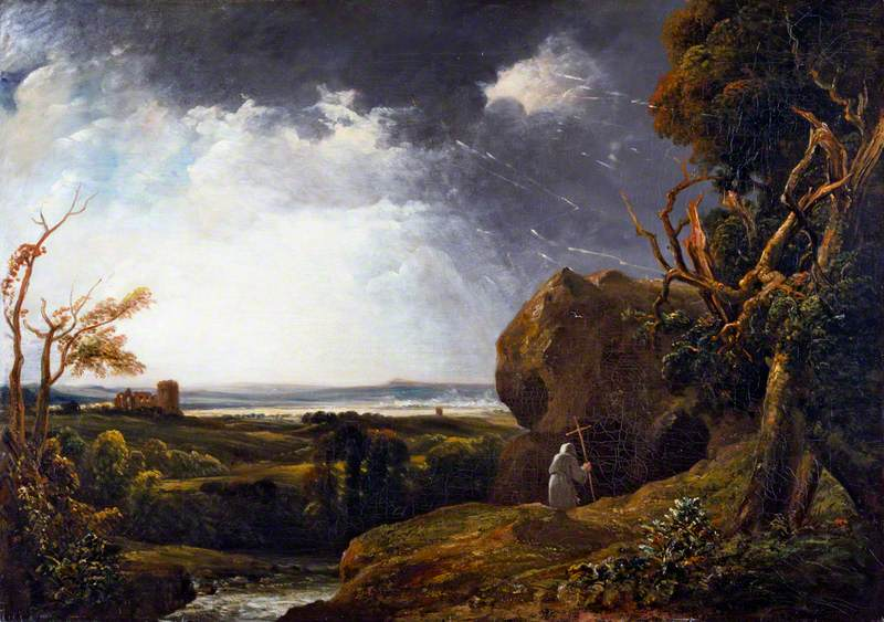 de Wint, Peter, 1784-1849; Landscape with Lightning and a Hermit