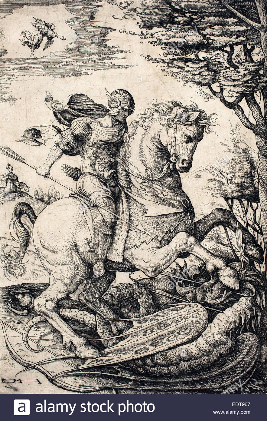 daniel-hopfer-i-german-c-1470-1536-saint-george-on-horseback-slaying-EDT967