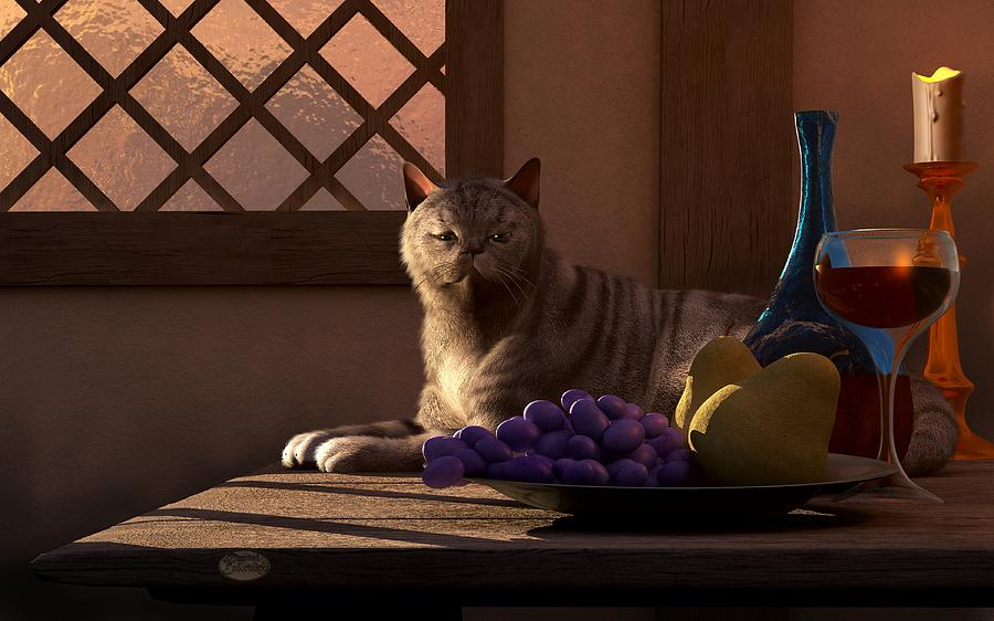 still-life-with-wine-fruit-and-cat-daniel-eskridge