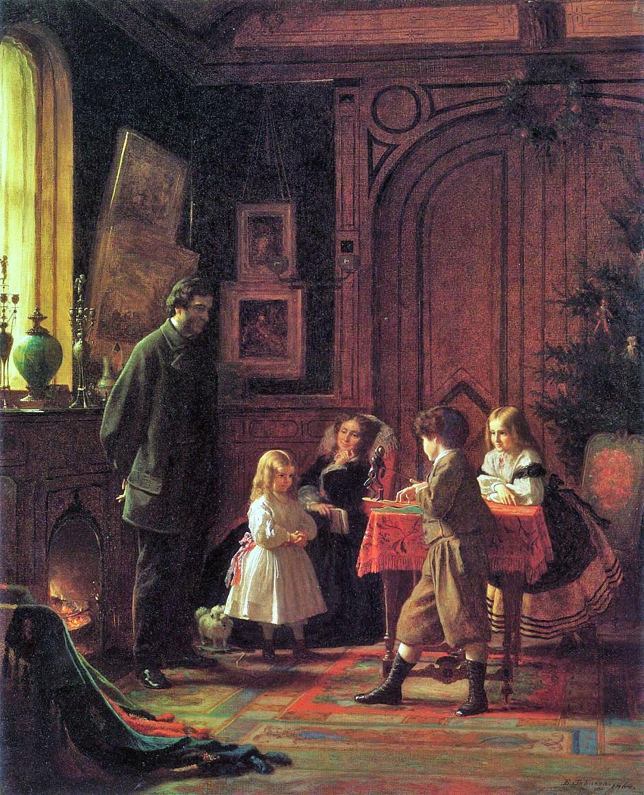 vh John Eastman (American Painter, fl 1842-1880) Christmas Time
